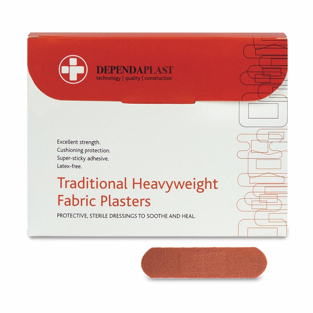 Dependaplast Traditional Fabric Plasters, Sterile, 7.5cm x 2.5cm , 10 x  Box of 100