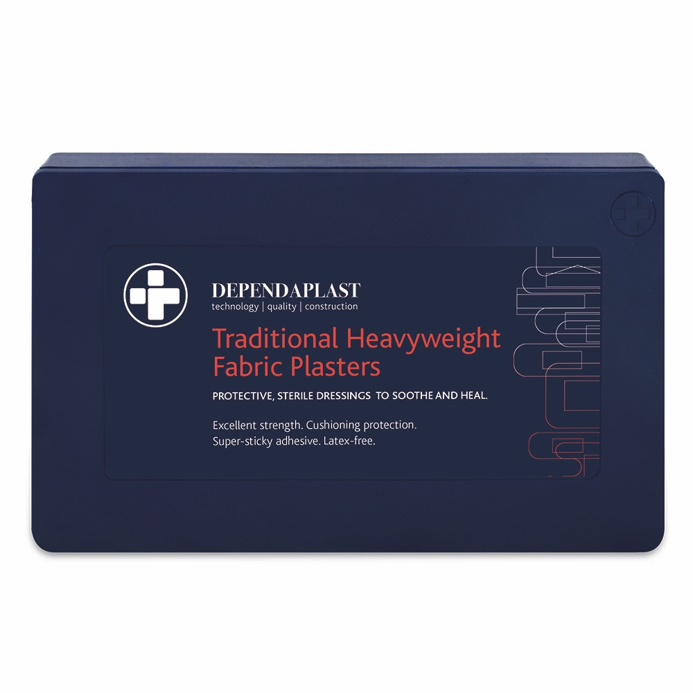 Dependaplast Traditional Fabric Plasters, in Blue Plastic Box. Assorted, Assorted , 1 x  Box of 120