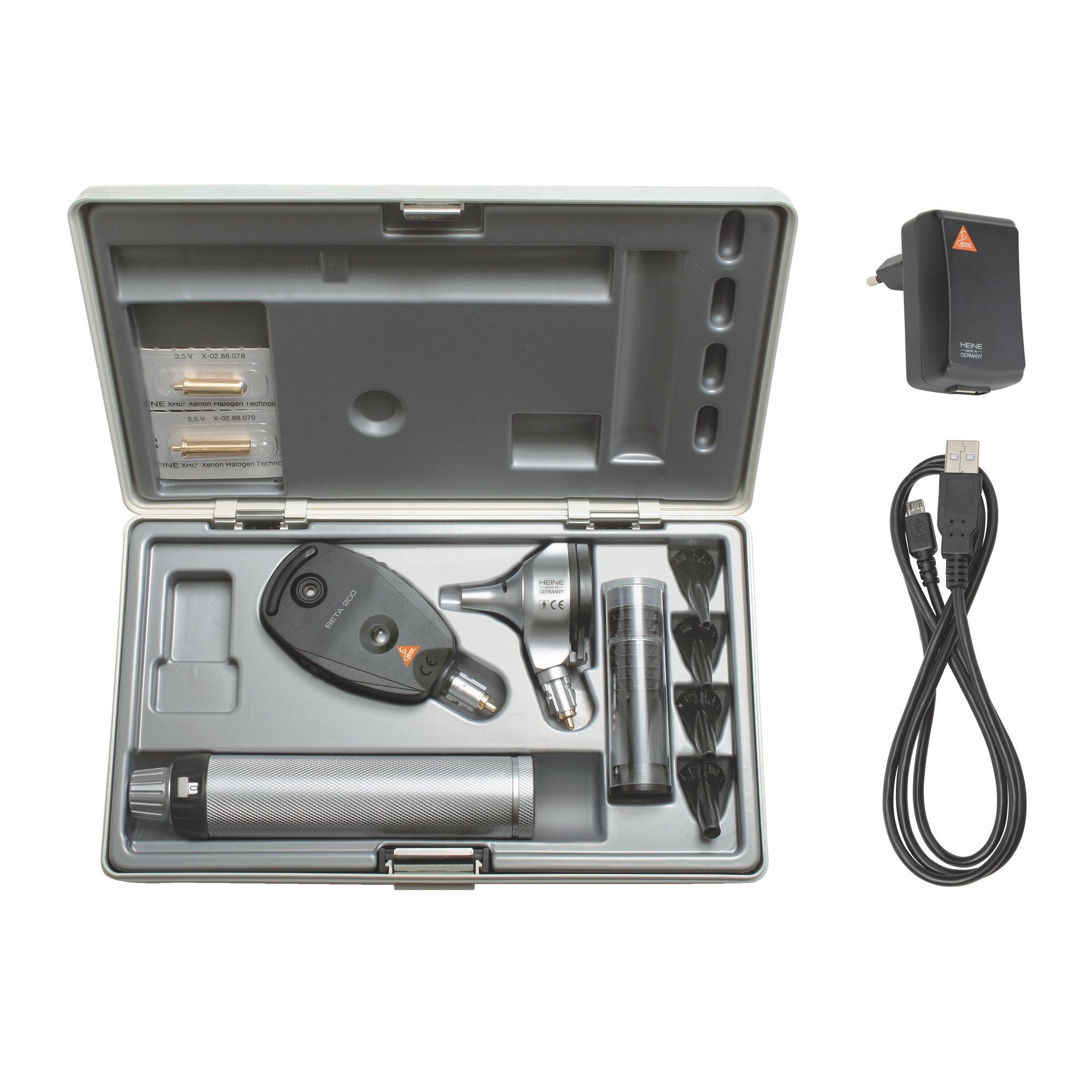 HEINE BETA 200 F.O Diagnostic Set with BETA4 USB Rechageable Handle
