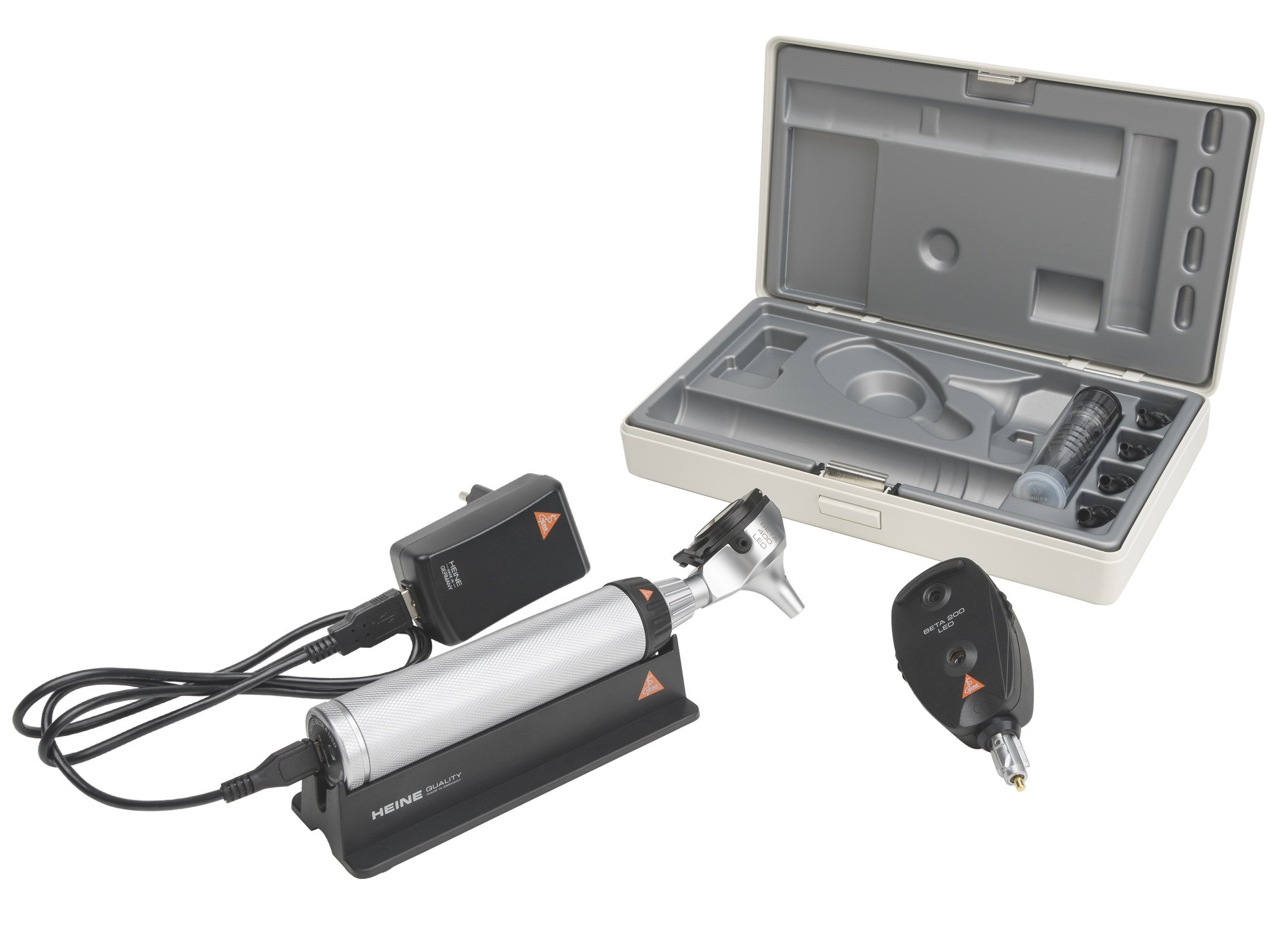 HEINE Diagnostic Set: BETA 400 LED Otoscope & BETA 200 Opthalmoscope (USB Rechargeable Handle)