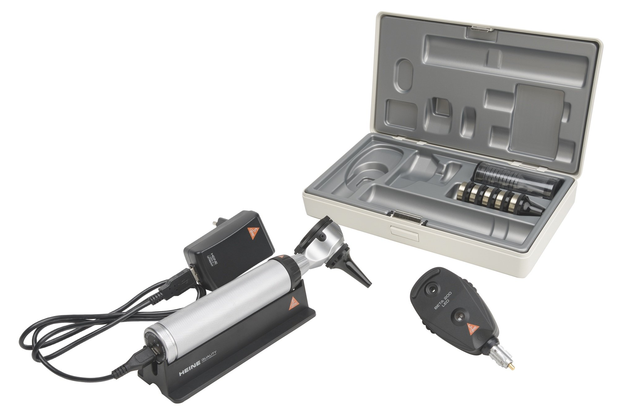 HEINE Diagnostic Set: BETA 100 Otoscope & BETA 200 LED Opthalmoscope (USB Rechargeable Handle)