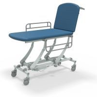Seers Clinnova 2 Section Hydraulic Couch with Gas Assisted Backrest, Manual Foot Pump, Independantly Locking Castors and Side Rails-Classic Base