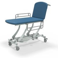 Seers Clinnova 2 Section Hydraulic Couch with Gas Assisted Backrest, Manual Foot Pump, Central locking Castors and Side Rails-Classic Base