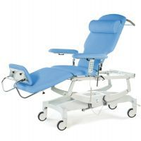 Seers Innovation Deluxe Dialysis Couch with Electric height, backrest, foot section, paper roll holder, CPR facility, auto-levelling and Central locking Wheels