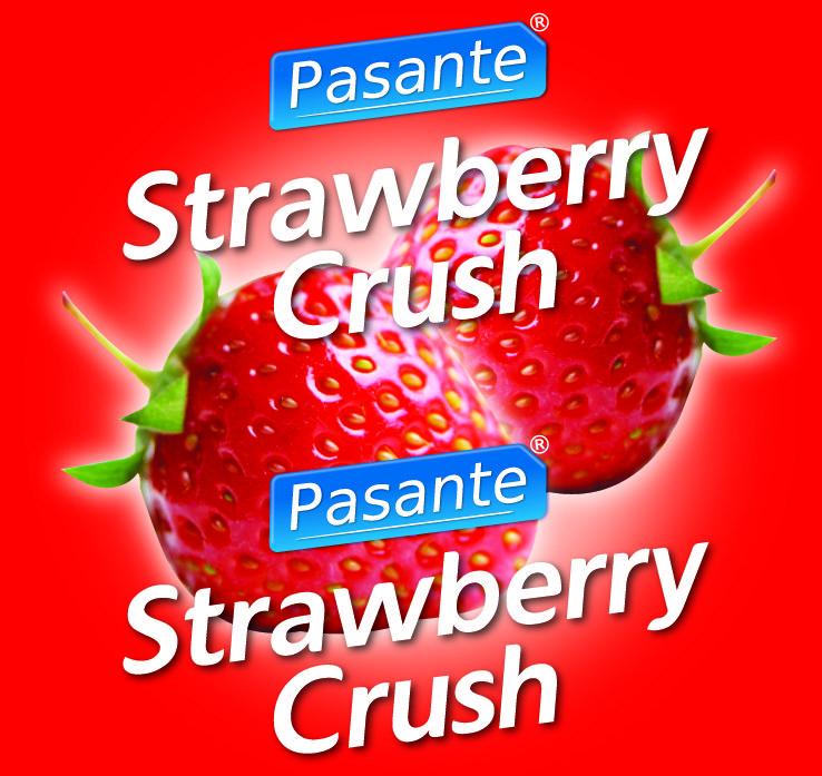 Pasante strawberry crush condoms, bulk pack (pack of 144)