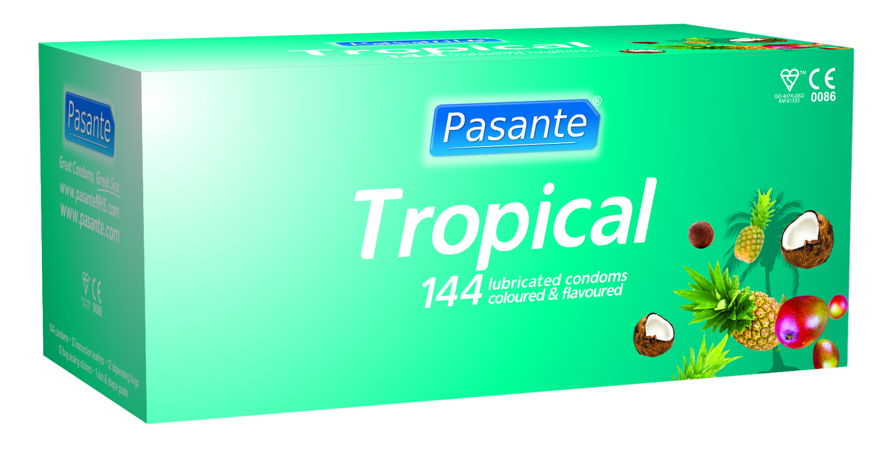 Pasante tropical flavours condoms, mixed bulk pack (pack of 144)