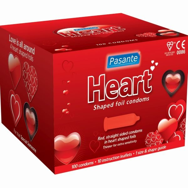 Pasante red condoms in heart shaped foils (box of 100)